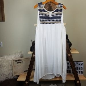 105e4c2dea Beach by Exist White Boho Blue Rayon CoverUp Dress